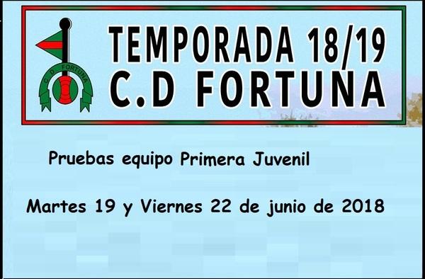 El C.D. Fortuna busca porteros y centrales para el equipo de Primera Juvenil - Temporada 2018/19