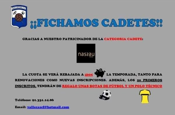 Vallecas C.F., inscripciones en Categoría Cadete - Temporada 2018/19