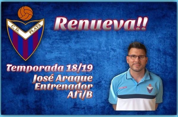 """José Araque seguirá en el banquillo del C.D. Plata """"B"""" en la temporada 2018/19"""