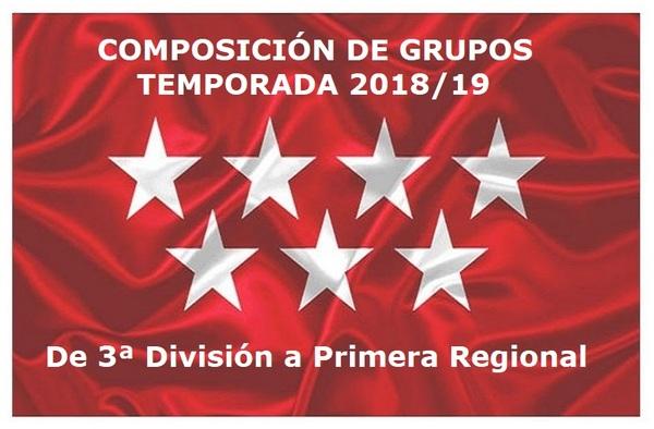 Composición de los grupos en Categoría Aficionado Temporada 2018/19 (Hasta Primera Regional)