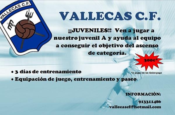 """Plazas libres en el Juvenil """"A"""" del Vallecas C.F. - Temporada 2018/19"""