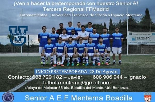 La E.F. Mentema Boadilla busca jugadores para la temporada 2018/2019. ¡Ven a hacer la pretemporada!