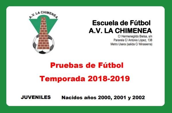 La A.V. La Chimenea sigue buscando jugadores Juveniles para la temporada 2018/19