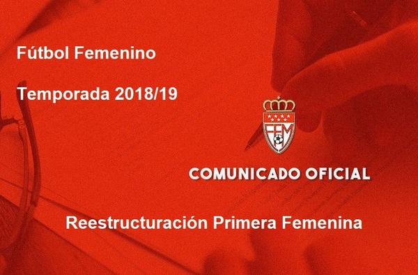 Las RFFM reorganiza la competición de Primera Femenina para la temporada 2018/19