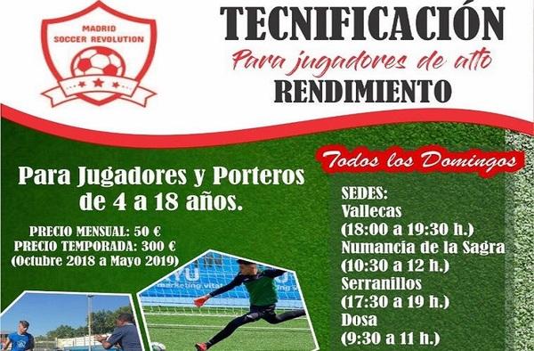 Tecnificación Madrid Soccer Revolution para jugadores y porteros de 4 a 18 años
