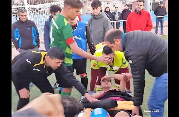 El pasado sábado 26 de enero se lesionaba de gravedad el jugador juvenil del Villanueva de la Cañada, Pablo Medina - Temporada 2018/19