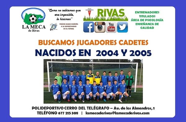 La Meca de Rivas busca jugadores cadetes para completar su plantilla de cara a la próxima temporada (2019/2020)