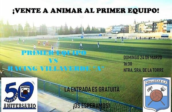 El Vallecas C.F. pide el apoyo de la afición ante el partido en casa frente al Racing Villaverde