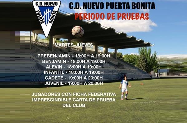 Abierto el periodo de pruebas en el C.D. Nuevo Puerta Bonita para la temporada 2019/20