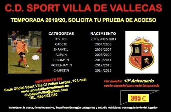 Abierto el Plazo de Inscripción en el C.D. Sport Villa de Vallecas - Temporada 2019/20