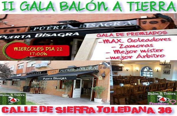 El restaurante Puerta Bisagra, acogerá el próximo 22 de mayo de 2019 la II Gala de Balón a Tierra