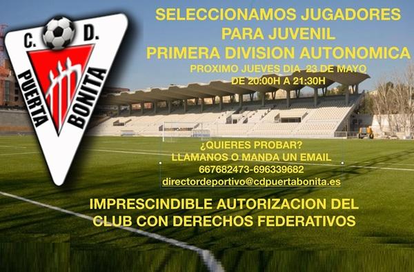 El C.D. Puerta Bonita selecciona jugadores para su equipo de Autonómica - Temporada 2019/20