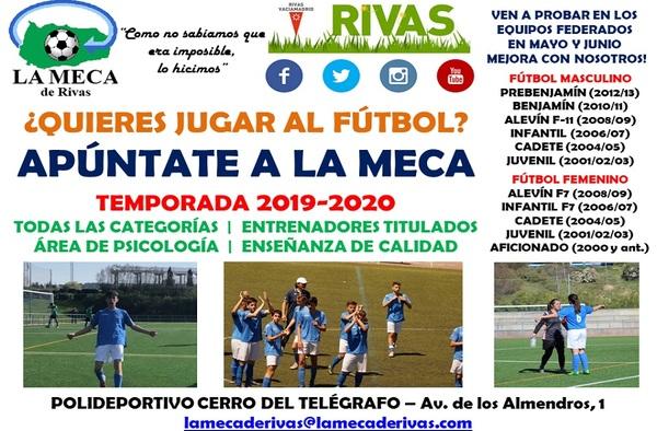 Abierto el período de pruebas en todas las categorías para la temporada 2019-2020 en la A.D. La Meca de Rivas