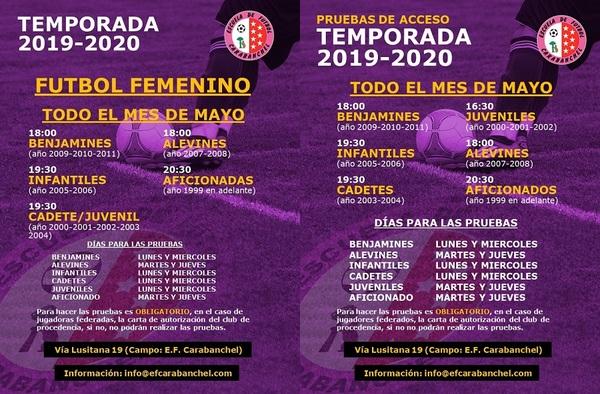 Pruebas de acceso en la EF Carabanchel para todas las categorías - Temporada 2019-2020