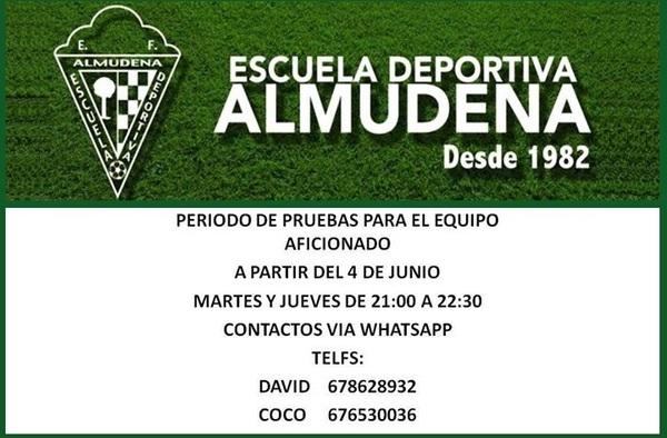 Abierto el periodo de pruebas para pertenecer al equipo aficionado de la E.D. Almudena -Temporada 2019/20