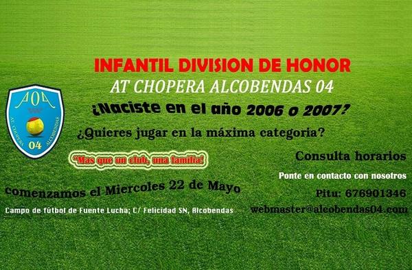 El At. Chopera Alcobendas 04 busca jugadores para su equipo Infantil División de Honor -  Temporada 2019-2020