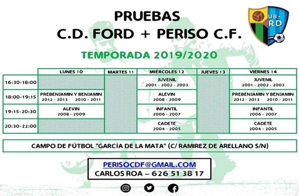 Pruebas de captación en el Periso CF durante la semana del 10 al 14 de junio de 2019