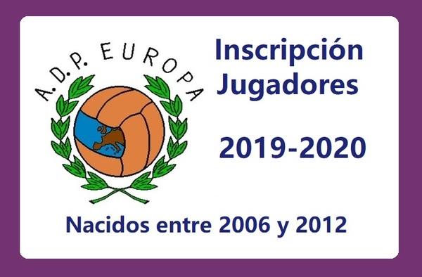 A.D. Parque Europa - Inscripción de jugadores Temporada 2019-2020