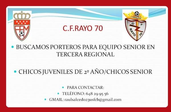 C.F. Rayo 70 busca porteros para equipo de Tercera Regional - Temporada 2019/2020