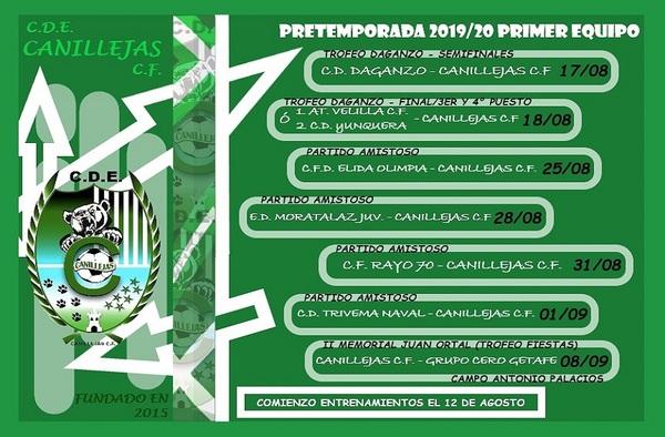 El equipo sénior del CDE Canillejas CF comenzará la pretemporada el 12 de agosto de 2019