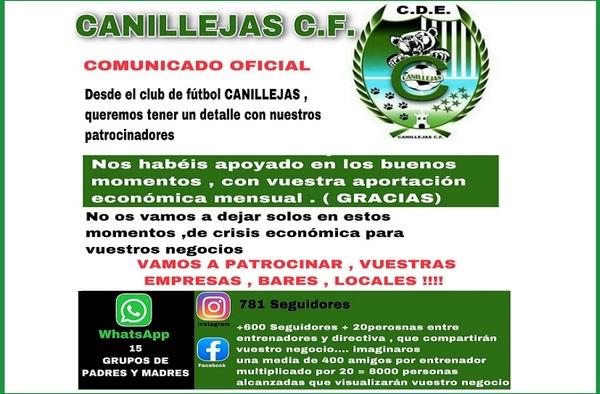 El CDE Canillejas CF apoya a sus patrocinadores en sus redes sociales