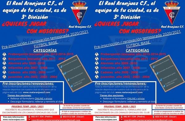 El Real Aranjuez CF abre plazo de inscripción para la temporada 2020/21