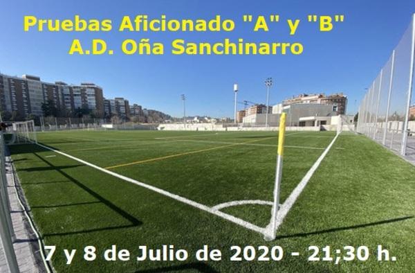 Pruebas para los equipos Aficionados del Oña Sanchinarro, 7 y 8 de julio de 2020