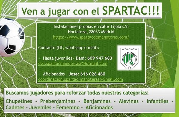 El Spartac de Manoteras busca jugadores en todas sus categorías - Temporada 2020/21