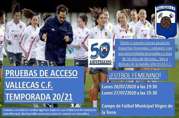 Pruebas de Acceso en el Vallecas CF (Femenino, Cadete e Infantil) - Julio de 2020