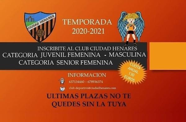Plazas en el Club Ciudad Henares - Temporada 2020/21