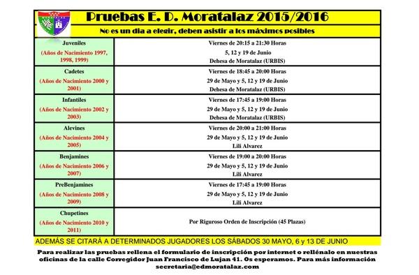 Ya han comenzado las pruebas para ser jugador de la E.D. Moratalaz en la temporada 2015/16
