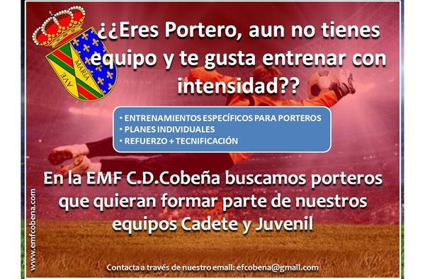 La E.M.F. C.D. Cobeña busca porteros para sus equipos de Cadete y Juvenil (Temporada 2015/16)
