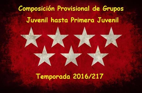 Composición provisional de los grupos en Categoría Juvenil Temporada 2016/17 (Hasta 1ª Juvenil)