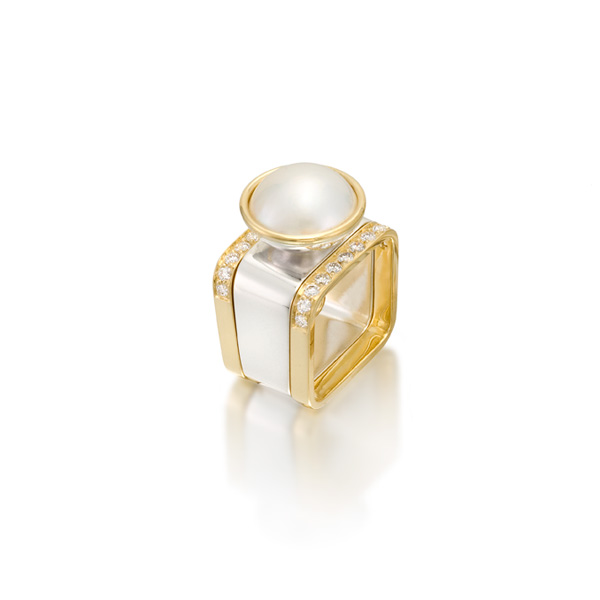 gabriel ofiesh jewelry pearl square ring 12 mm with