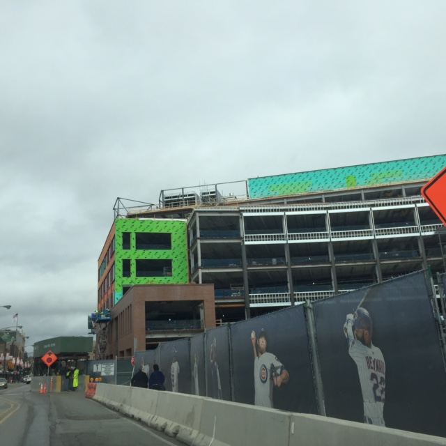 Triangle Lot building, with current Cubs players in view