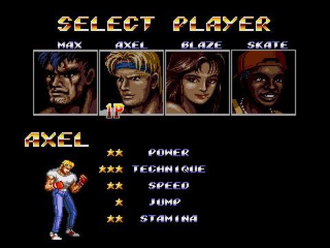 Streets of Rage 2, character selection