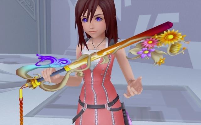 Kairi holding her keyblade in Kingdom Hearts II