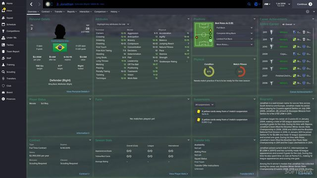 More screen shots of Football Manager 2016's UI.
