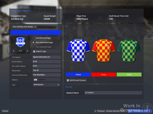 Football Manager 2016's Create a Club mode