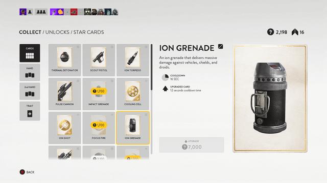 Star Wars Battlefront Ion Grenade Star Card