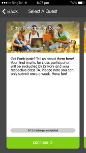 "Screenshot of the ""Class Participation"" Quest"