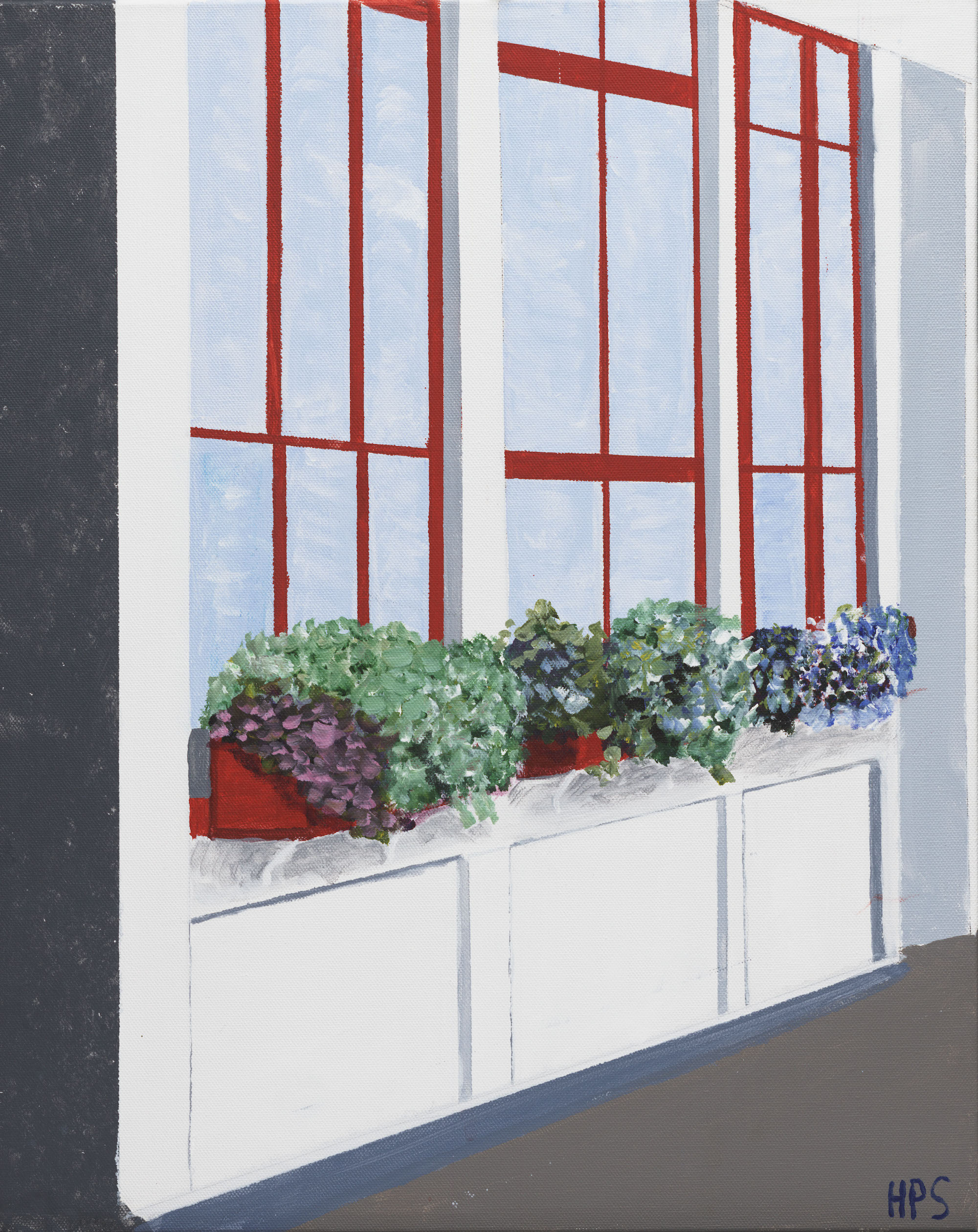 acrylic art on canvas landscape window boxes