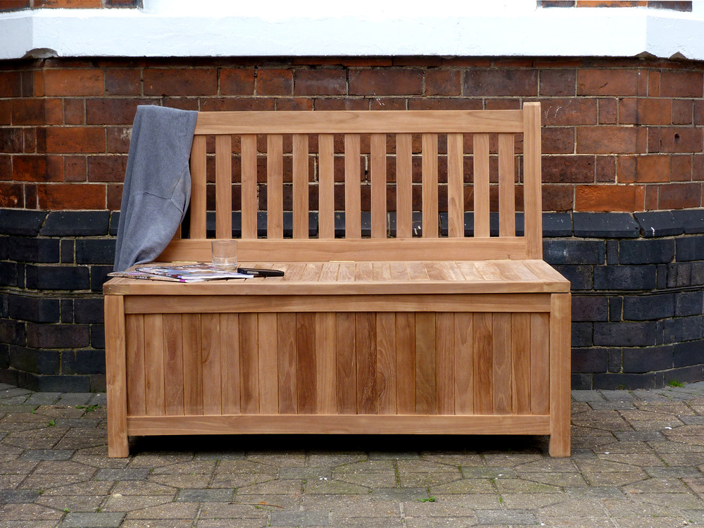 Teak Storage Bench 120cm | Windsor Teak Garden Storage ...