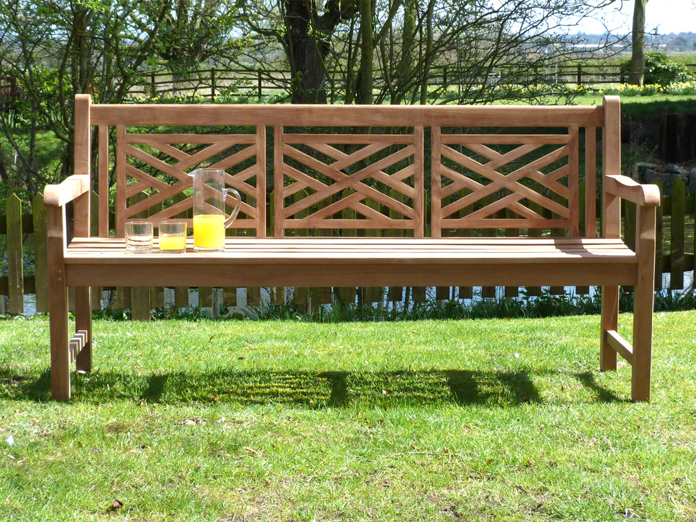 Oxford Cross Weave Back Teak Garden Bench 180cm