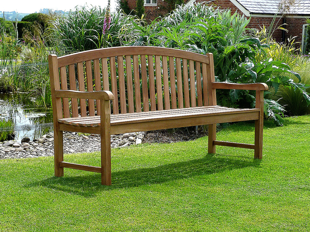 Winchester Single Oval Back Teak Garden Bench 180cm