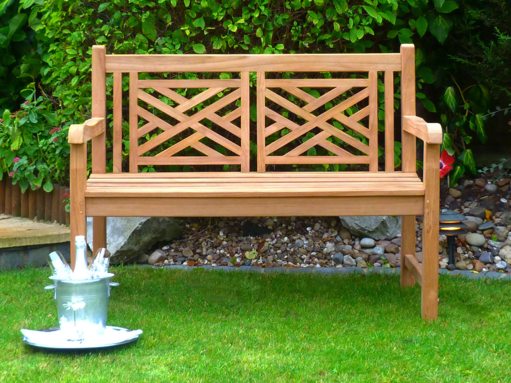 Oxford Cross Weave Back Teak Bench 120cm Teak Bench Cross Weave Back