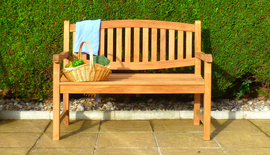 double oval teak bench 120 front