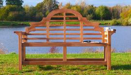Lutyens flat arm teak garden bench 150 front