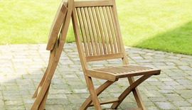 Windsor Teak Folding Dining Chair (Pair Of)