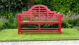 Garden Benches Painted Lutyens Teak Rectory Red 150 Front